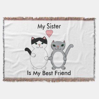 Sister Best Friend Cats Personalize Throw Blanket