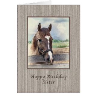 Sister, Birthday, Brown Horse with Bridle Cards
