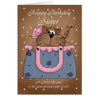 Sister Birthday Card - Cute Cat Purse Pet