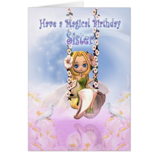 Sister Birthday card with Cutie Pie fairy on