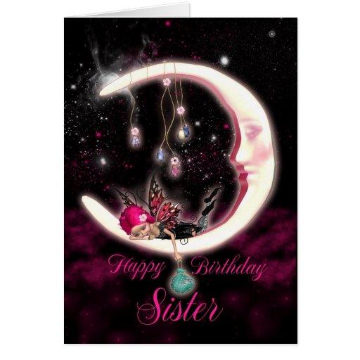 Sister Birthday Card With Fantasy Moon Fairy
