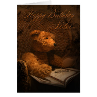 Sister Birthday Card With Teddy Bear Reading A Boo
