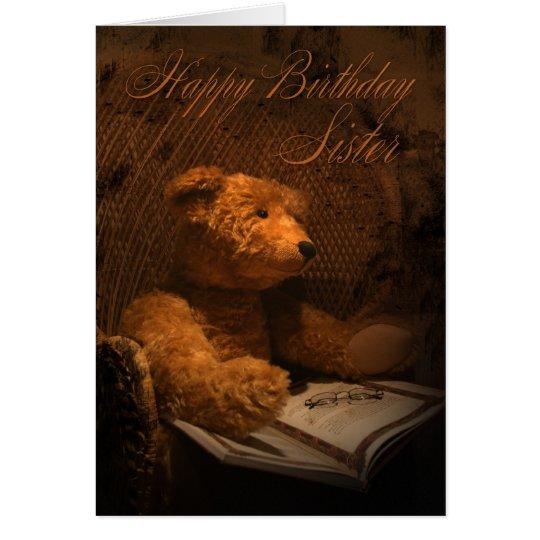 Sister Birthday Card With Teddy Bear Reading A