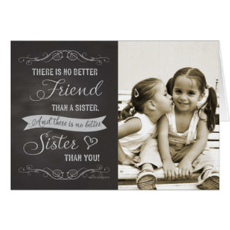 Sister Birthday - Chalkboard custom photo Greeting Card