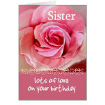 SISTER Birthday with Pink Rose and Lace Greeting Card