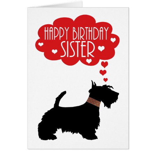Sister Birthday With Silhouette Scottish Terrier Card
