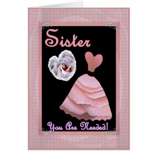SISTER Bridesmaid Invitation PINK Rose Petal Dress