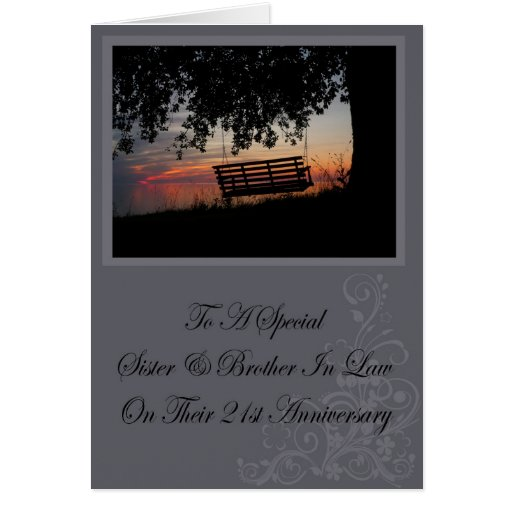 Sister & Brother In Law 21st Anniversary Card