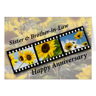 Sister & Brother-in-Law, Anniversary Sunflower Fil Card