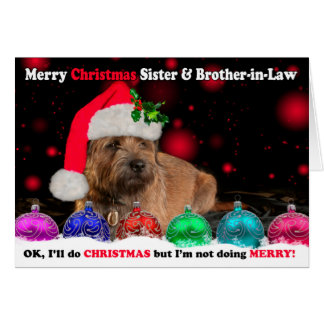 Sister & Brother-in-Law Grumpy Border Terrier Dog Greeting Card