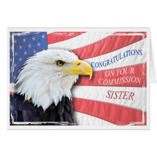 Sister,commissioning with a bald eagle greeting card