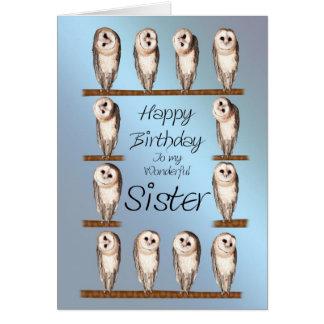 Sister, Curious owls birthday card. Card