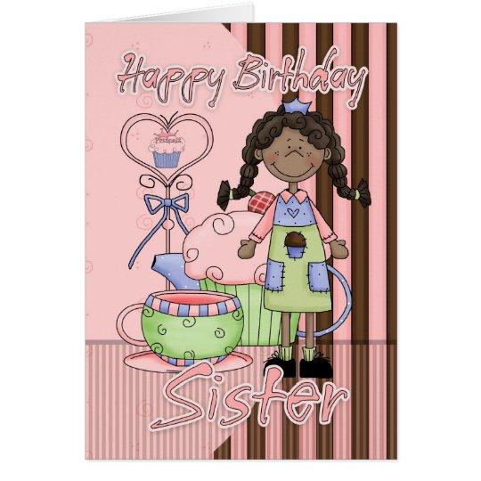 Sister Cute Birthday Card - Cupcakes And Tea