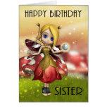 Sister Cute Magical Fairy With Crystal Ball Cards