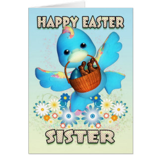 Sister Easter Card - Cute Duck With Basket Of Trea