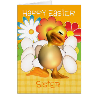 Sister Easter Card With Chick Eggs And Bright Flow