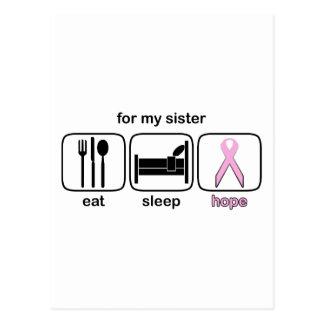 Sister Eat Sleep Hope - Breast Cancer Postcard