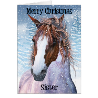 Sister Equine Horse With Winter Background Greeting Card