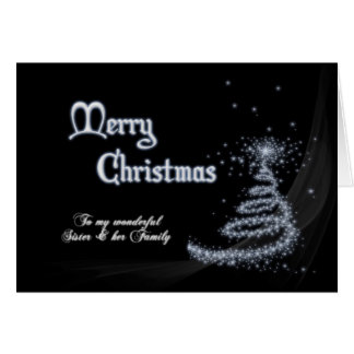 Sister & family, a Black and white Christmas Greeting Card