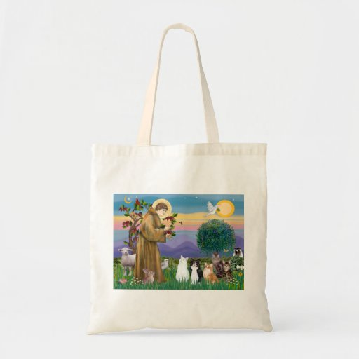 Sister Frances Blessing 5 cats Canvas Bags