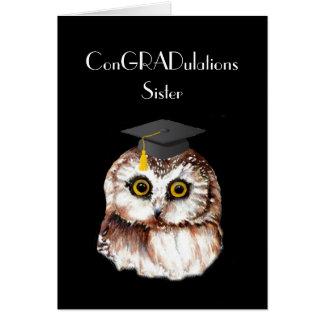 Sister Graduation Congratulations Cute Wise Owl Card