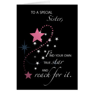 Sister, Graduation Star Congratulations, Pink Card