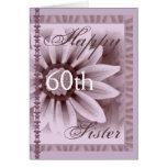SISTER  - Happy 60th Birthday - LAVENDER Flower Greeting Card