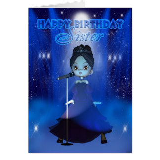 Sister Happy Birthday Singing Deva Cute Card