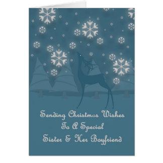 Sister & Her Boyfriend Reindeer Christmas Card