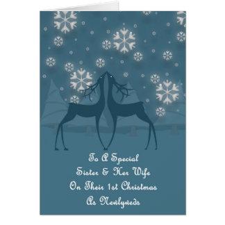 Sister & Her Wife Reindeer Christmas Card