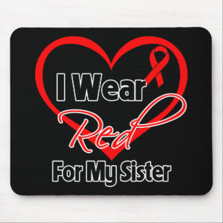 Sister - I Wear a Red Heart Ribbon Mouse Pad