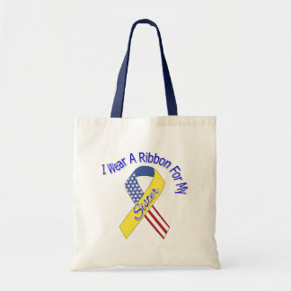 Sister - I Wear A Ribbon Military Patriotic Canvas Bags