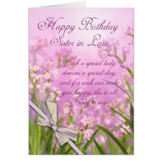 Sister in Law Birthday Card - Pink Feminine Floral