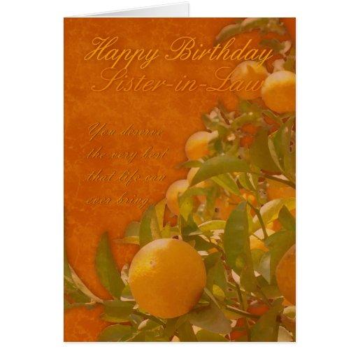 Sister-in-Law Happy Birthday Spanish Orange Tree, Greeting Cards