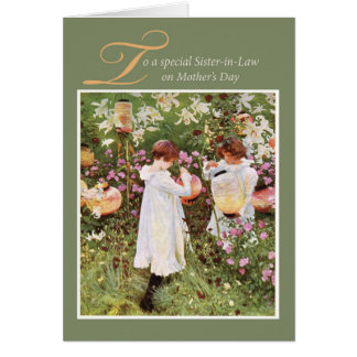 Sister-in-Law Mother's Day, Girls in Flower Garden Card