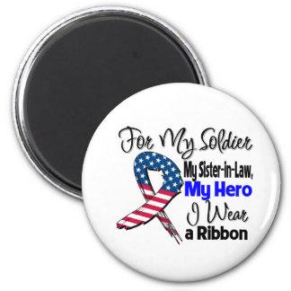 Sister-in-Law - My Soldier, My Hero Patriotic Ribb 6 Cm Round Magnet