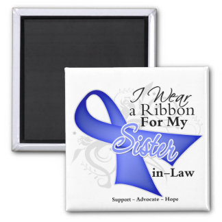 Sister-in-Law Periwinkle Ribbon - Stomach Cancer Square Magnet