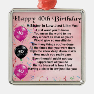 Sister in Law Poem  40th Birthday Silver-Colored Square Decoration