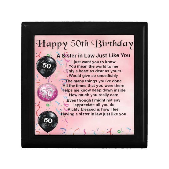 Sister in Law Poem - 50th Birthday Small