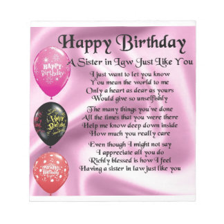 Sister in Law Poem -  Happy Birthday Design Notepad