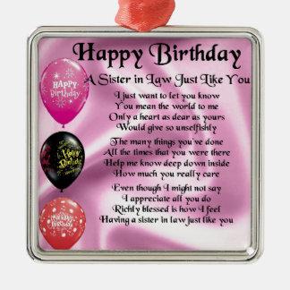 Sister in Law Poem -  Happy Birthday Design Silver-Colored Square Decoration
