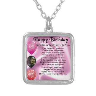 Sister in Law Poem -  Happy Birthday Design Silver Plated Necklace