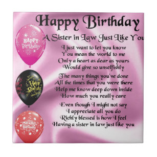 Fashion style Birthday Happy sister in law poems pictures for lady