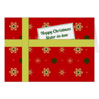 Sister-in-law red Christmas parcel Greeting Card