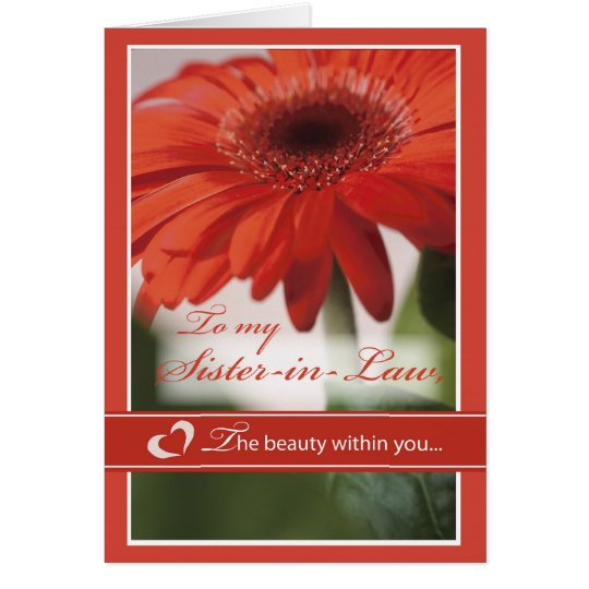 Sister-in-Law Valentine Gerber Daisy Card