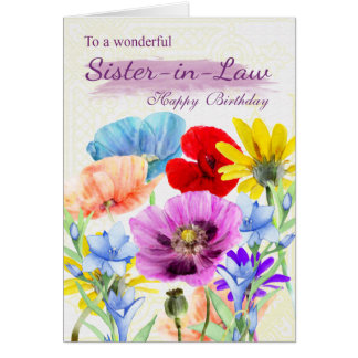 Sister-in-Law Watercolor Flowers Greeting Card