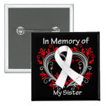 Sister - In Memory Lung Cancer Heart 15 Cm Square Badge