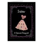 SISTER - Junior Bridesmaid - Peach and Mauve Dress Greeting Cards