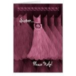 SISTER - MAID OF HONOR  Invitation PINK Gown