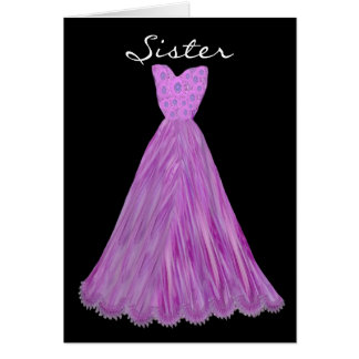 SISTER - Maid of Honor PURPLE WATERFALL Dress Greeting Card